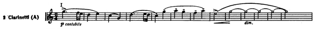 Partition dans Les Steppes de l'Asie centrale de Alexandre Borodine, Premier thème en clarinette