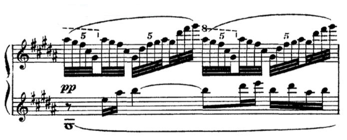 Partition Estampes, Claude Debussy, rythmes complexes