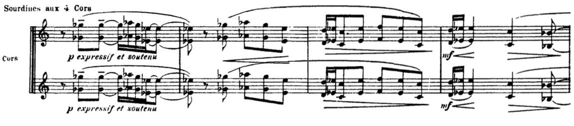 Partition La Mer de Claude Debussy, Quatre cors en sourdine
