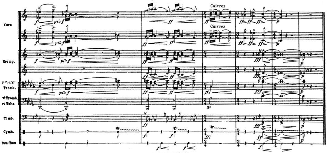 Partition La Mer de Claude Debussy, la mélodie des cuivres
