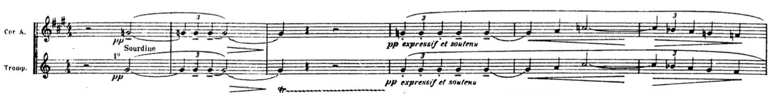 Partition La Mer de Claude Debussy, thème du cor anglais et d'une trompette