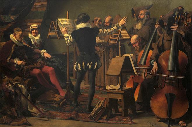 Roland de Lassus dirigeant les psaumes pénitentiels, peinture de Léon Frédéric, vers 1880 © Nationalgalerie, Staatliche Museen zu Berlin