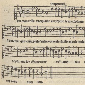 Partie supérieure d'une des trente et quatre chansons musicales à quatre parties imprimées par Pierre Attaingnant en 1529 © Gallica-BnF