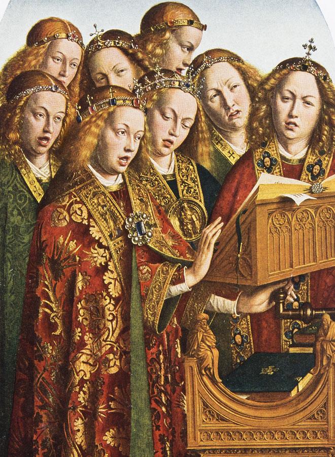 Anges chanteurs (détail de l'Agneau mystique), par Jan van Eyck, 1432 © Cathédrale Saint-Bavond de Gand, Belgique