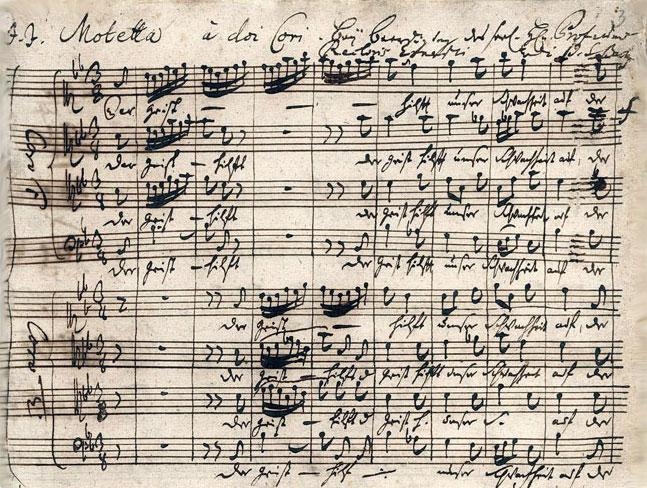 Motet Der Geist hilft unser Schwachheit auf, partition autographe de Bach, 1729 © Staatsbibliothek zu Berlin - Preussischer Kulturbesitz