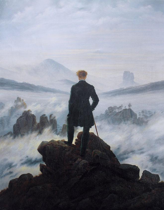 Caspar David Friedrich, Le Voyageur au-dessus de la mer de nuages, 1818 © Kunsthalle Hamburg