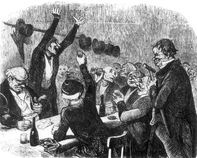 Honoré Daumier, La goguette des Joyeux à Belleville, 1845 © DR