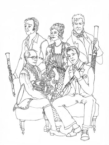 Illustration Le quintette à vent © Julie Scolbetzine