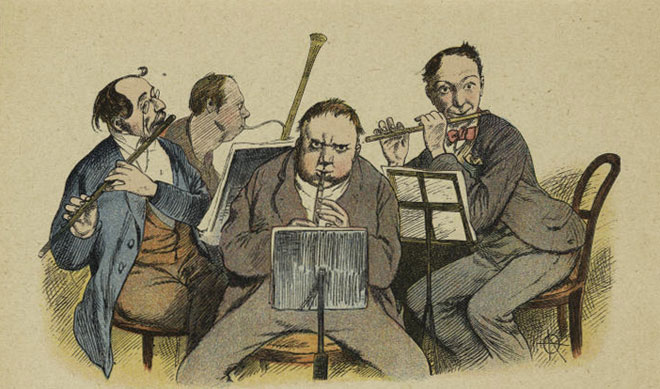 Ensemble d'instruments à vent, par Adolf Oberländer, 1898 © NY Public Library, digital collections