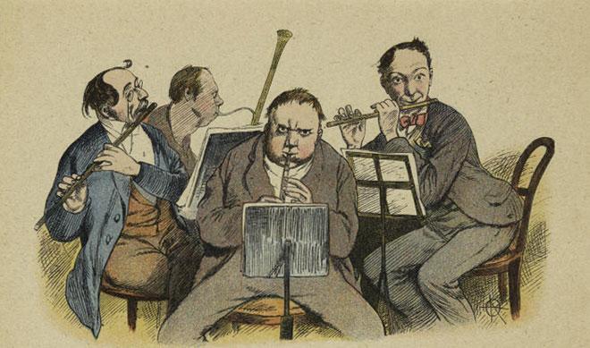 Ensemble d'instruments à vent, par Adolf Oberländer, 1898 © NY Public Library, digital collections