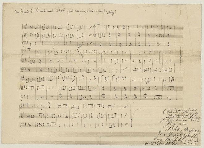 Finale du Divertimento n°80 pour baryton, alto et basse, manuscrit autographe de Joseph Haydn © Gallica-BnF
