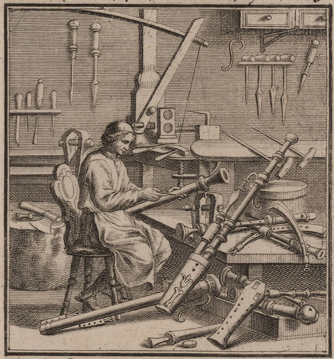 The wind instrument maker, par Christoph Weigel © Library of Congress