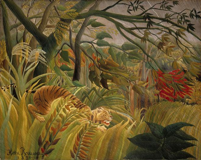 Surpris !, peinture de Henri Rousseau (Le-Douanier), 1891. National Gallery, Londres