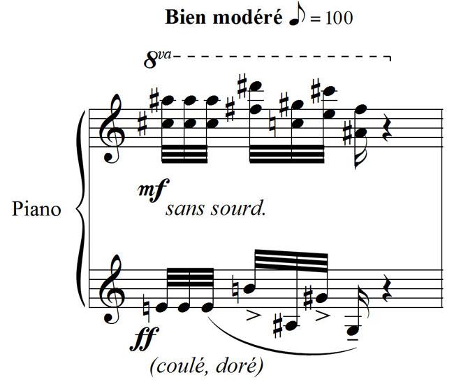 Le loriot, extrait du Catalogue d'oiseaux de Messiaen