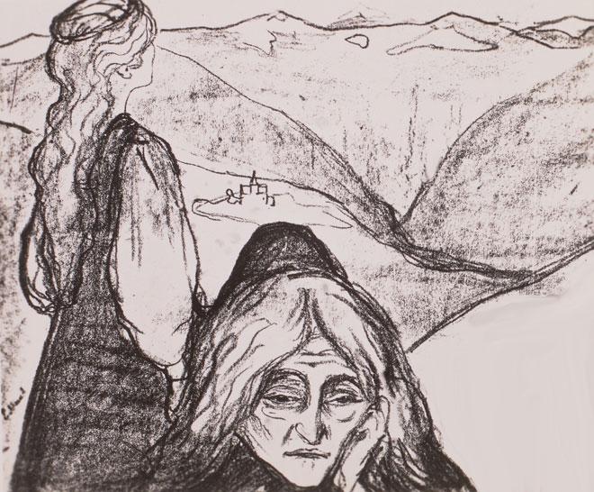 Peer Gynt, affiche pour la première représentation de la pièce à Paris au théâtre de l'Œuvre en 1896, lithographie de Edvard Munch © SLUB Deutsche Fotothek