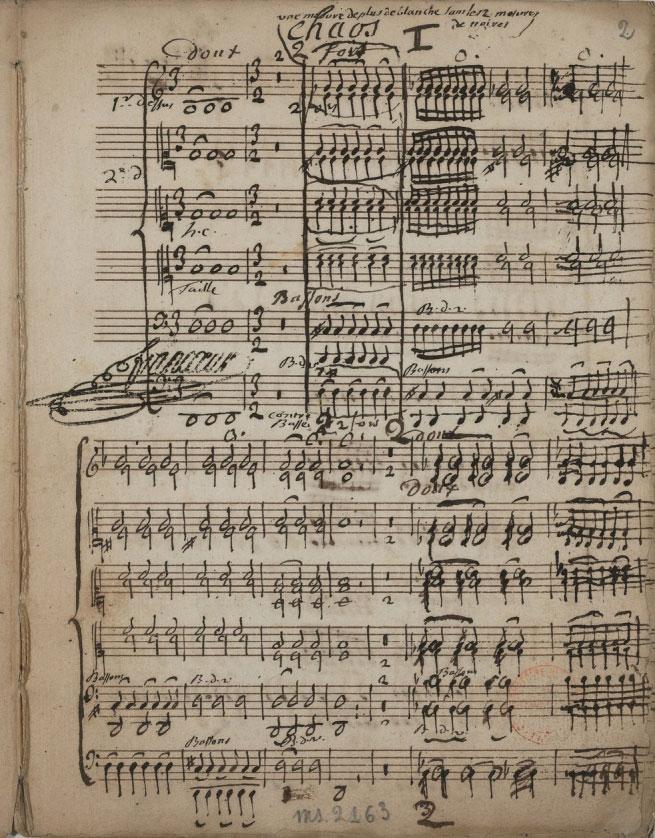 Jean-Féry Rebel, Partition manuscrite du Chaos