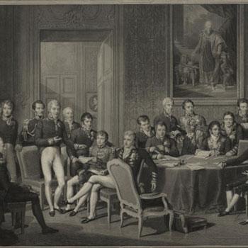 Le congrès de Vienne, gravure de Jean Godefroy d'après un tableau de Jean-Baptiste Isabey © Österreichische Nationalbibliothek