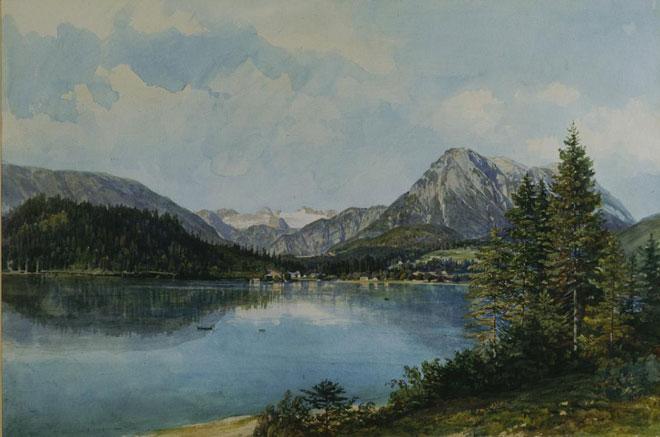 Le Altausseer See et le massif du Dachstein, par Thomas Ender, vers 1840 © Österreichische Galerie Belvedere, Wien