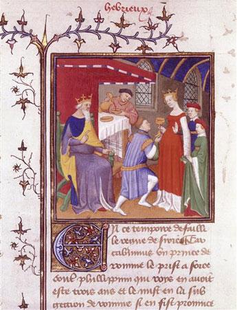 Mithridate fait boire du poison à sa femme, Maître de Boucicaut, 1415 © Paris Bibliothèque de l'Arsenal