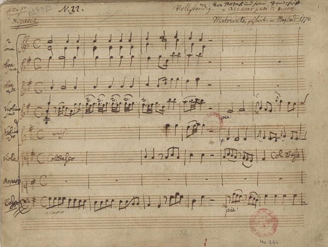 Partition de Mitridate, manuscrit autographe de Mozart © Gallica-BnF