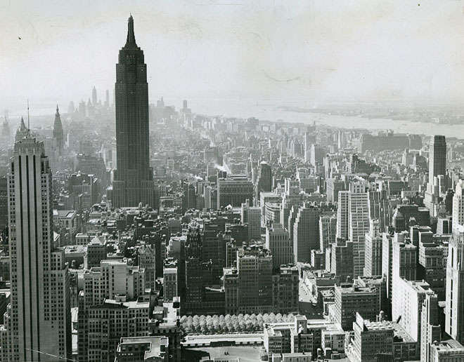 Vue aérienne de New-York, par F. Palumbo, 1945 © Library of Congress