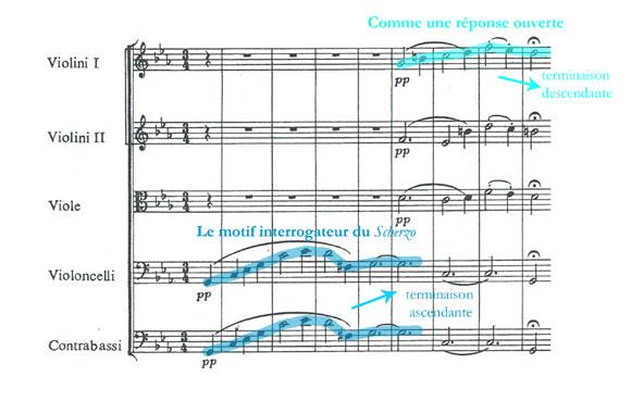 Le troisième mouvement, (motif interrogateur) de la Symphonie n° 5 de Ludwig Van Beethoven