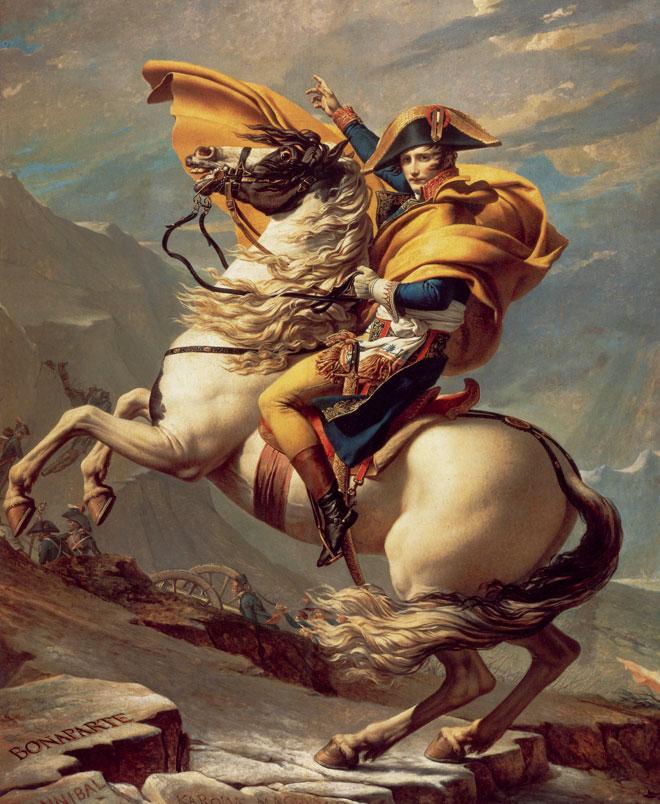 Bonaparte franchissant le Grand-Saint-Bernard, peinture de Jacques-Louis David, 1801. Musée national du Château de Malmaison