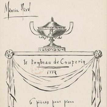 Maurice Ravel, Le Tombeau de Couperin, couverture de la partition dessinée par Ravel lui-même © Gallica - BnF
