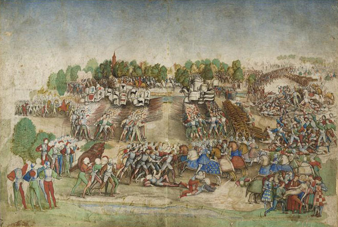 Bataille de Marignan, attribué au Maître à la Ratière © RMN, Chantilly, musée Condé