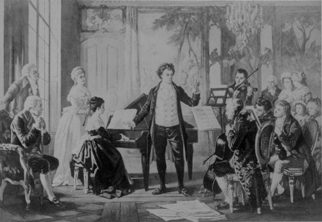 Beethoven dirigeant le quatuor de Razumovsky © Österreichische Nationalbibliothek