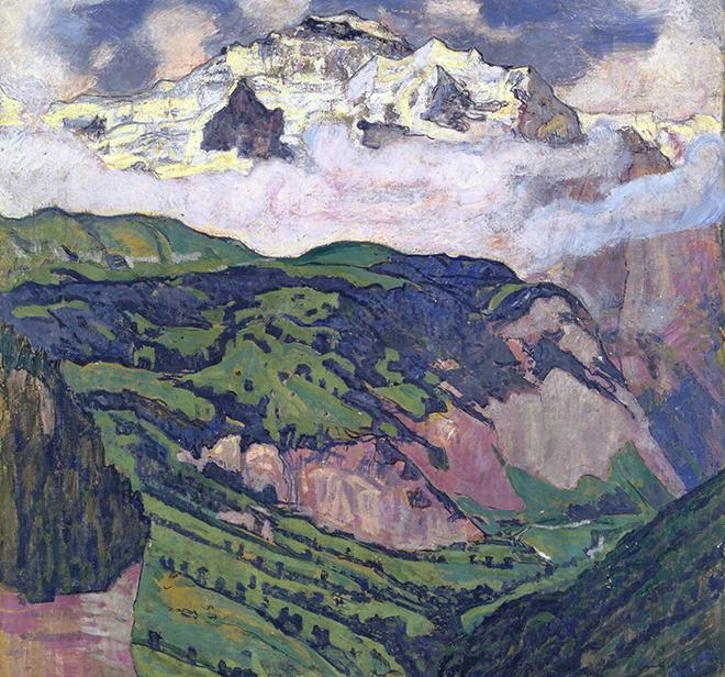 Le Massif de la Jungfrau, vu d'Isenfluh (Alpes bernoises), peinture de Ferdinand Hodler, 1902. Kunstmuseum Basel