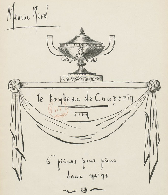 Maurice Ravel, Le Tombeau de Couperin, couverture de la partition dessinée par Ravel lui-même © Gallica - BnF