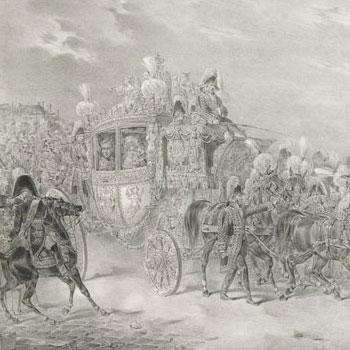C. H. Loeillot-Hartwig, Entrée solennelle de S. M. Charles X, roi de France et de Navarre dans Paris après la cérémonie du Sacre 1825 © Gallica - BnF