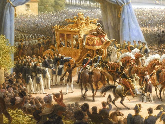 Entrée de Charles X à Paris, par la barrière de la Villette, après son sacre, 6 juin 1825, peinture de Louis-François Lejeune. Château de Versailles