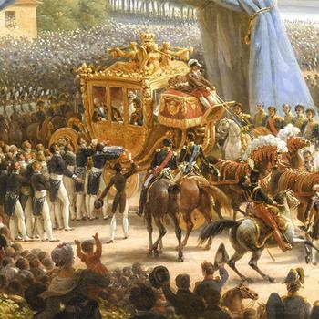 Entrée de Charles X à Paris, par la barrière de la Villette, après son sacre, 6 juin 1825, peinture de Louis-François Lejeune. Château de Versailles CC-PD