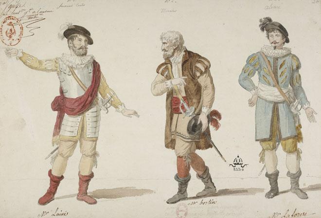 François-Guillaume Menageot, Fernand Cortez-ou la conquête du Mexique planche de costume, 1809 © Gallica - BnF