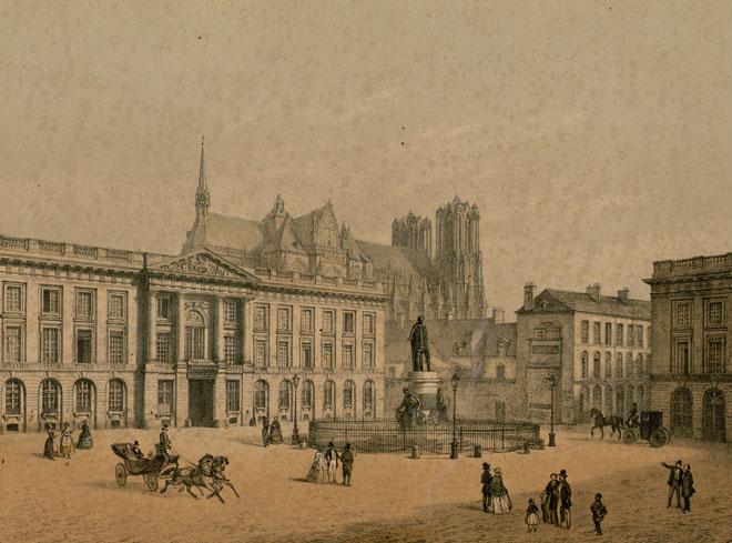 Léon Auguste Asselineau, Vue de la Place Royale à Reims © Bibliothèque municipale de Toulouse