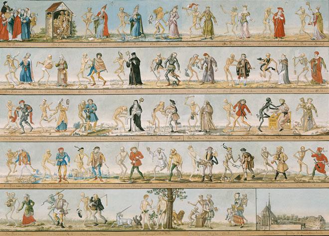 Aquarelle de la Danse Macabre de Bâle par Johann Rudolf Feyerabend 1806  © Musée historique de Bâle HMB