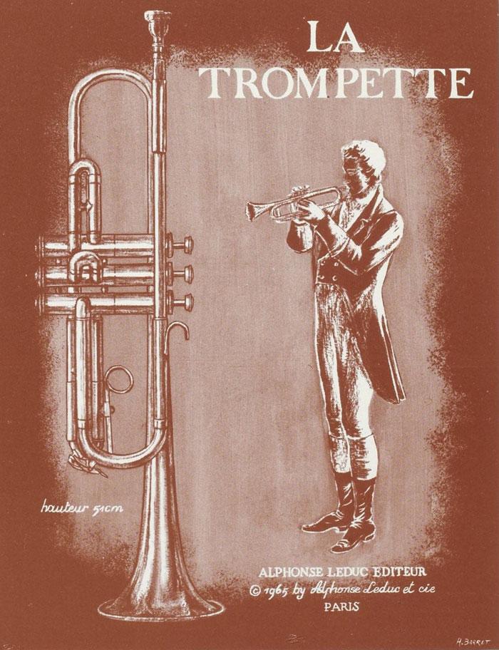 La trompette, illustration d'un fascicule Instruments de musique - Cuivres : sept documents à découper [édité par] Alphonse Leduc © Gallica