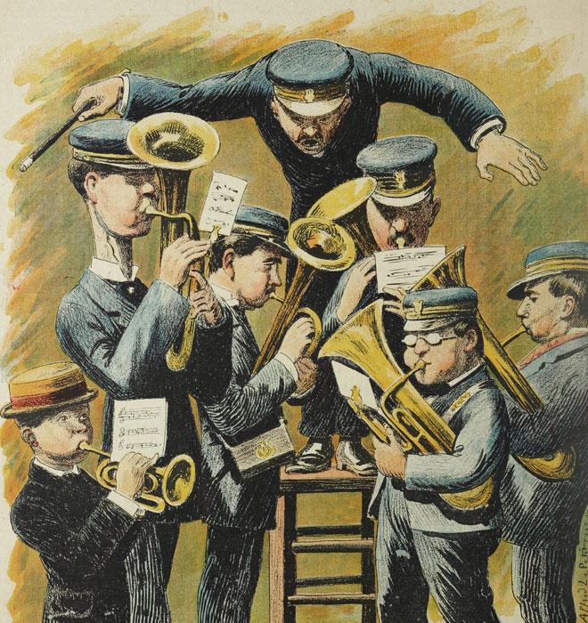 Répétition générale, illustration d'Alfred Le Petit dans Le Rire, journal humoristique n° 180 du 16 avril 1898. Universitätsbibliothek Heidelberg