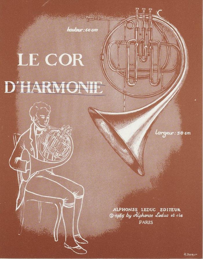Le cor d'harmonie, illustration d'un fascicule Instruments de musique - Cuivres : sept documents à découper [édité par] Alphonse Leduc © Gallica