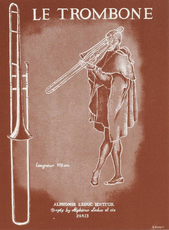 Le trombone, illustration d'un fascicule Instruments de musique - Cuivres : sept documents à découper [édité par] Alphonse Leduc © Gallica