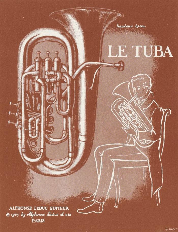 Le tuba, illustration d'un fascicule Instruments de musique - Cuivres : sept documents à découper [édité par] Alphonse Leduc © Gallica