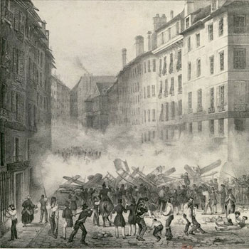 28 Juillet 1830. Première Barricade Rue Saint Honoré © Gallica BnF