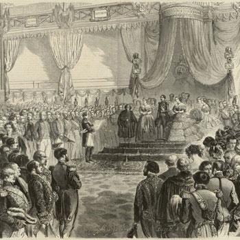 Cérémonie d'inauguration de l'Exposition Universelle, dans le palais de l'Industrie, le 15 mai 1855, H.-A. Valentin © Gallica BnF