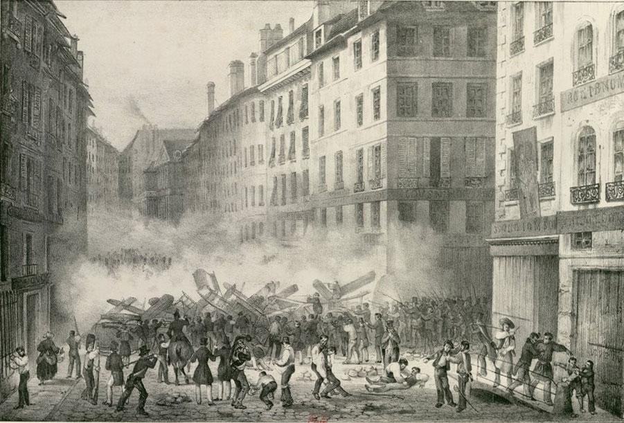 28 Juillet 1830. Première Barricade Rue Saint Honoré © Gallica