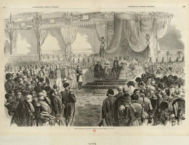 Cérémonie d'inauguration de l'Exposition universelle, dans le palais de l'Industrie, le 15 mai 1855, H.-A. Valentin © Gallica-BnF