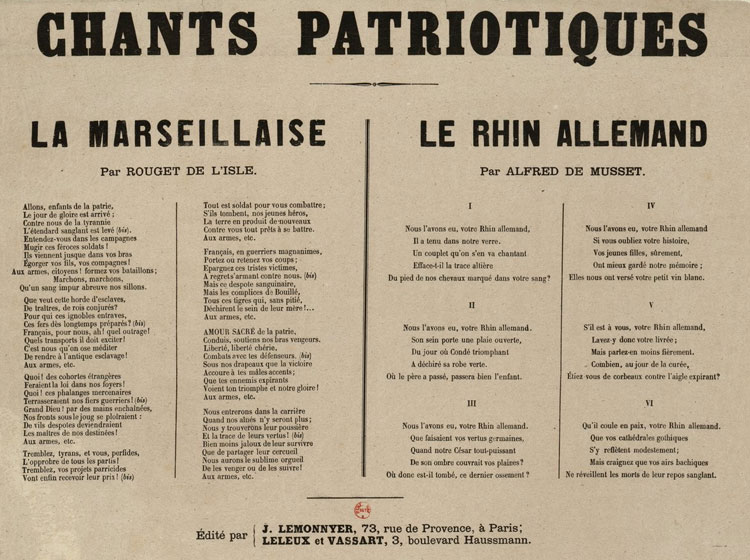 Chants patriotiques : La Marseillaise -- Le Rhin allemand : [estampe] / [non identifié] ; par Rouget de L'Isle ; par Alfred de Musset © Gallica