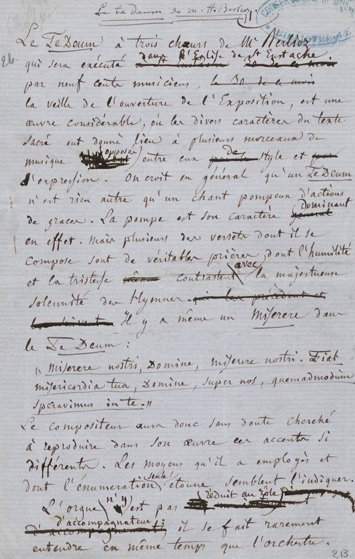 Notice sur le Te Deum, Hector Berlioz © Gallica