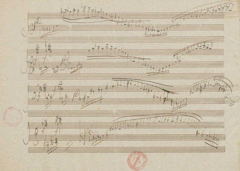 Cadence pour le premier mouvement du Concerto pour piano et orchestre n° 3, opus 37 (manuscrit autographe) de Ludwig van Beethoven, page 3 © Gallica BnF